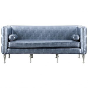 Bryn Leather Sofa Metallic Graphite