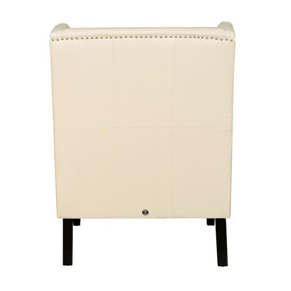 Chelsea Leather Wing Chair Cream Back