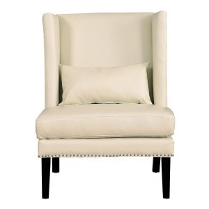 Chelsea Leather Wing Chair Cream Front