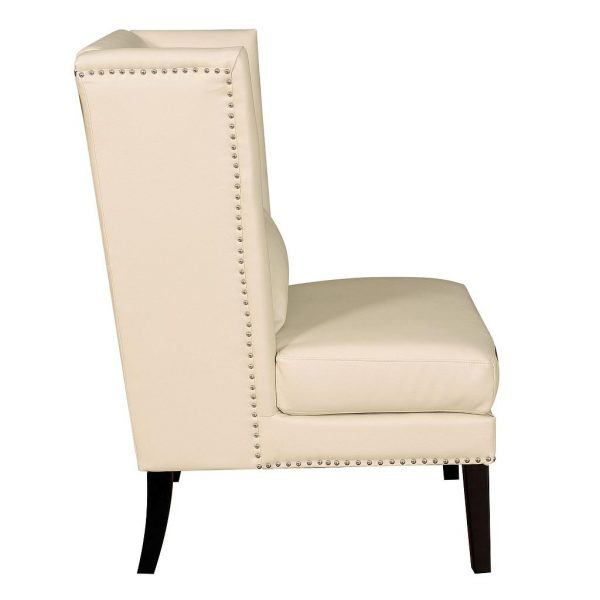 Chelsea Leather Wing Chair Cream Side