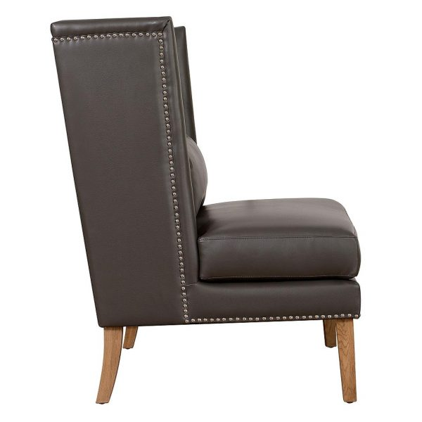 Chelsea Leather Wing Chair Grey Side