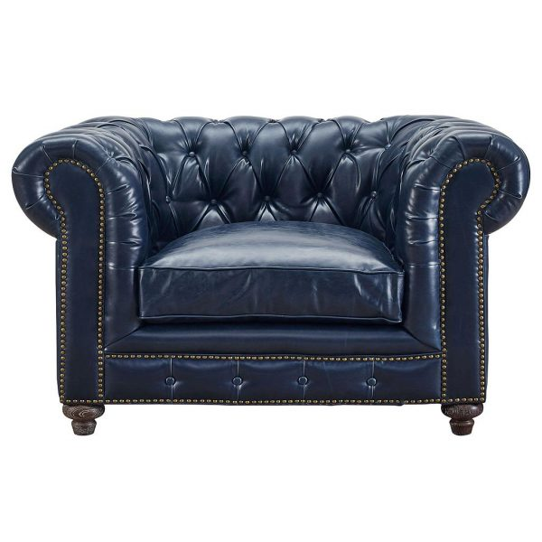 Durango Rustic Club Chair Blue Leather Front
