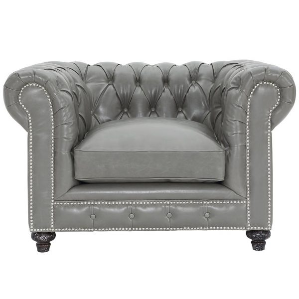 Durango Rustic Club Chair Grey Leather Front