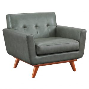 Lyon Leather Chair Smoke Front