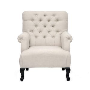 York Linen Club Chair Beige Front
