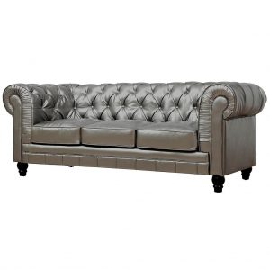 Zahara Leather Sofa Silver