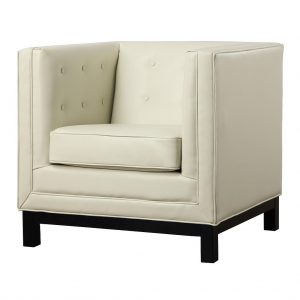 Zoe Leather Chair Cream Front